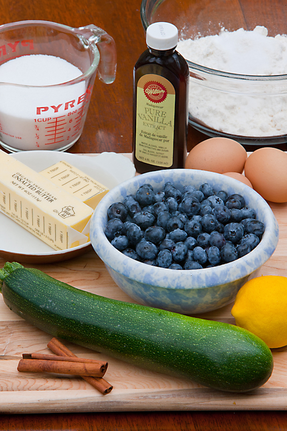 Ingredients for Blueberry Zucchini Bread