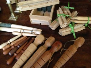 Hand-crafted wooden markers and planting tools.