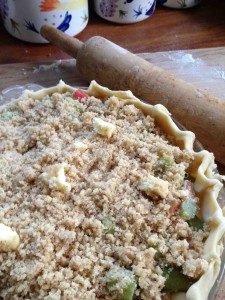 Rhubarb Pie with crumb topping, ready to bake.