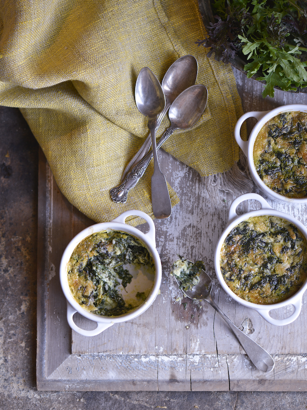 Vermont Cheddar and Spinach Custard