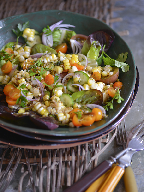 Cucumber, Corn, and Cilantro Salad